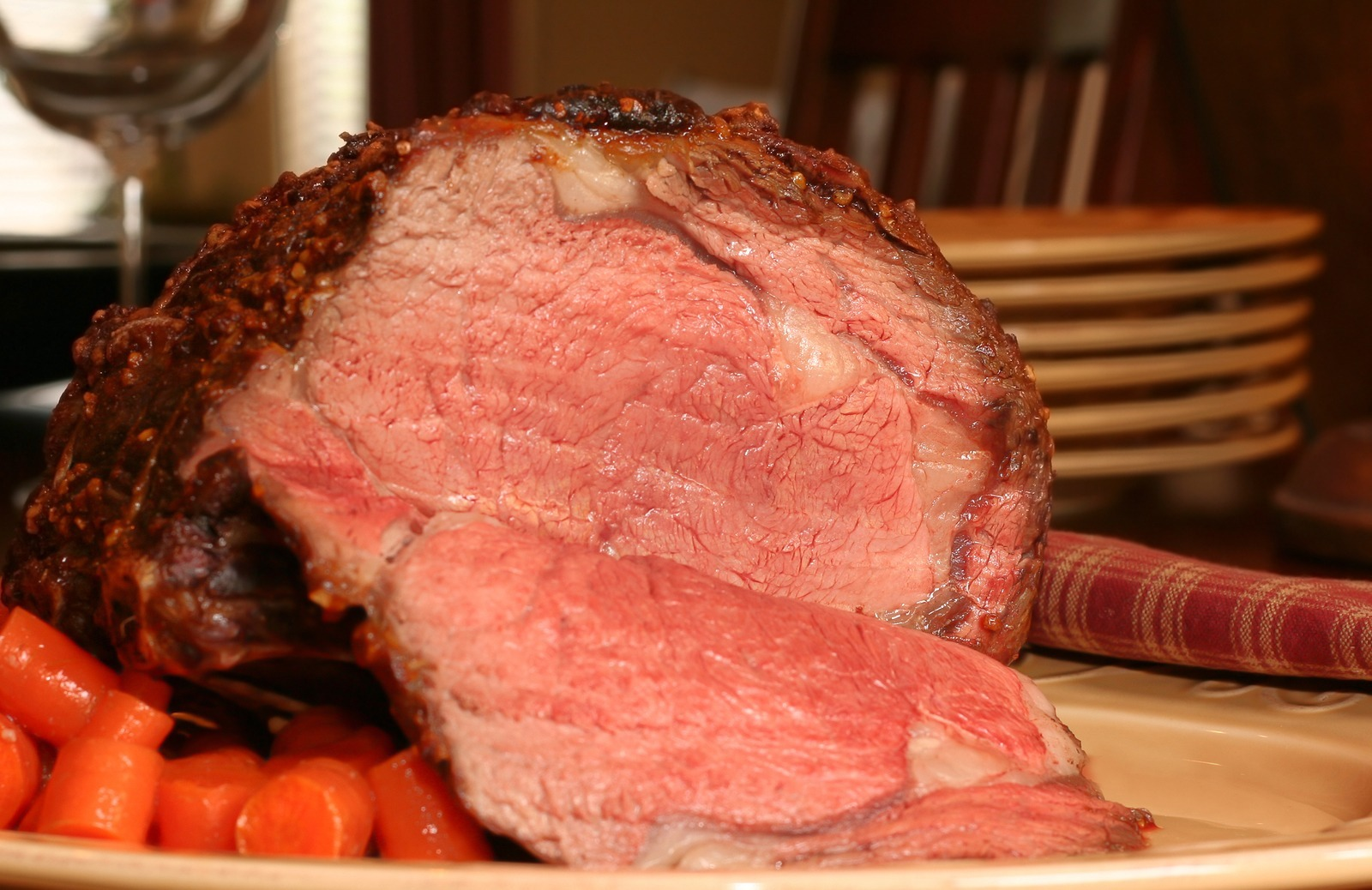 Prime rib roast, cooked medium rare and ready for serving.