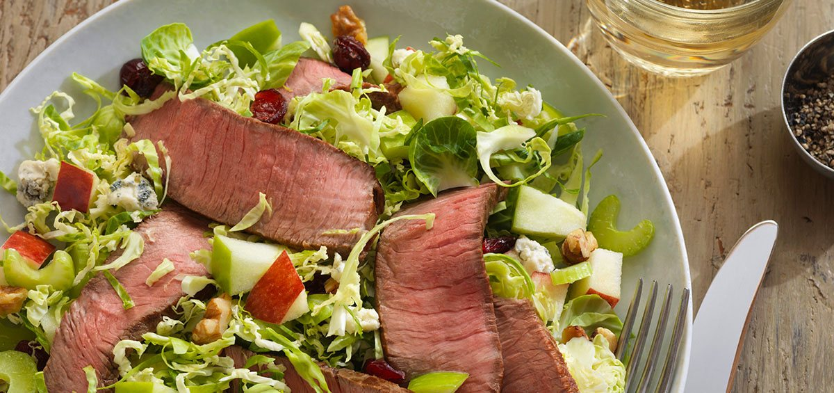 beef and brussels sprouts salad