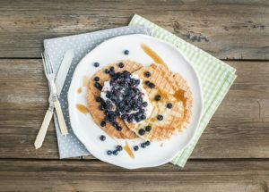 Dutch Waffles With Cream-cheese, Fresh Blueberry And Maple Syrup