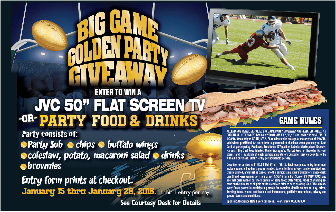 Big Game Giveaway Details