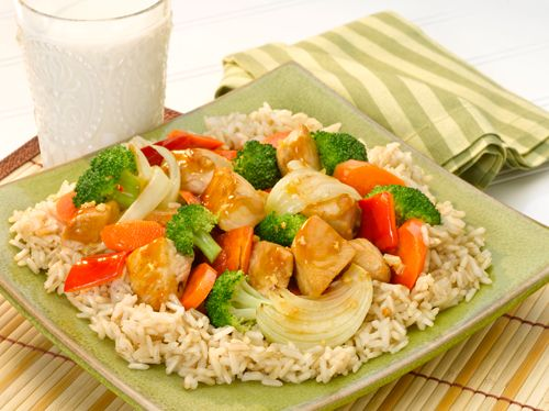 Brown Rice with Sizzling Chicken and Vegetables