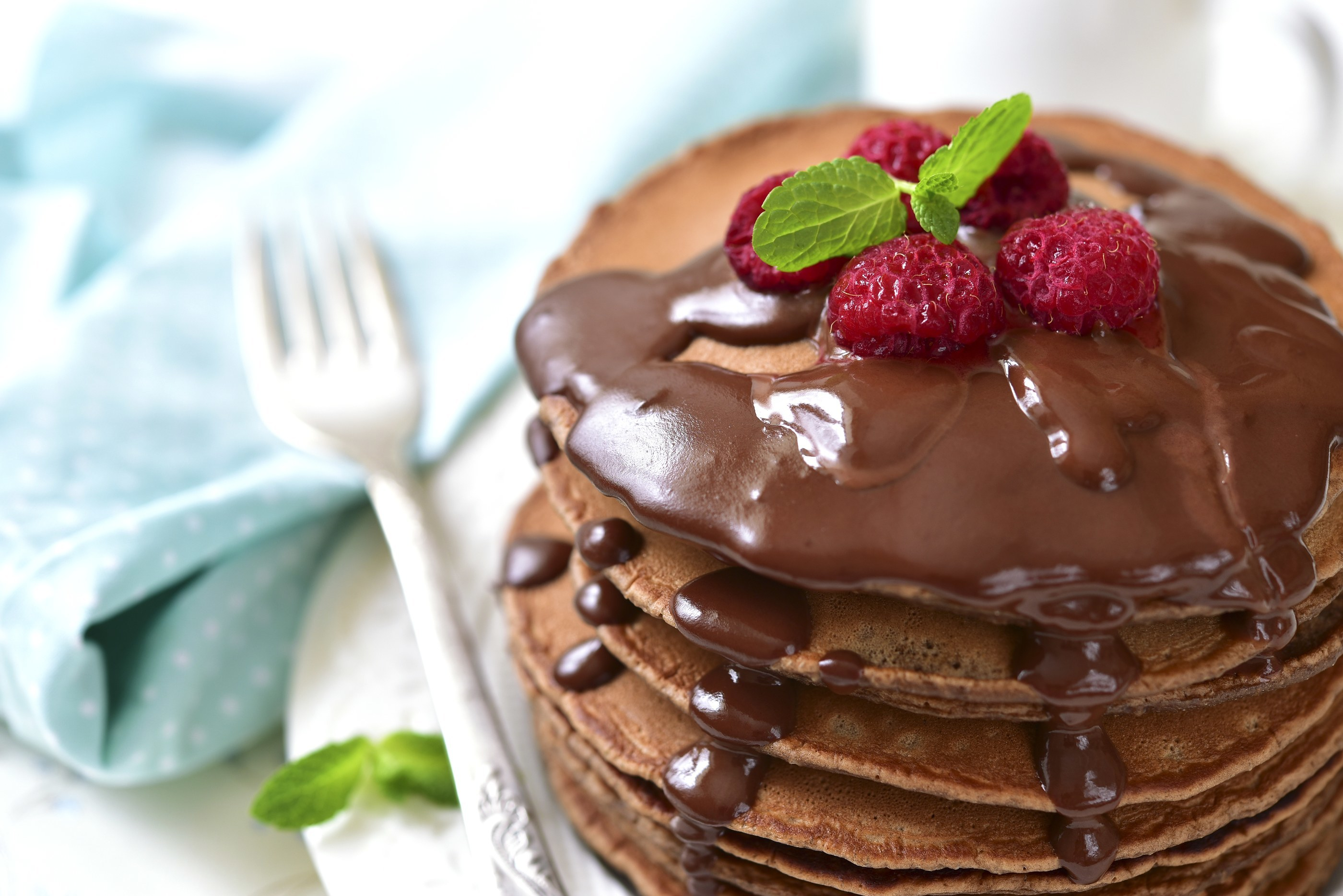Chocolate Milk Raspberry Pancakes