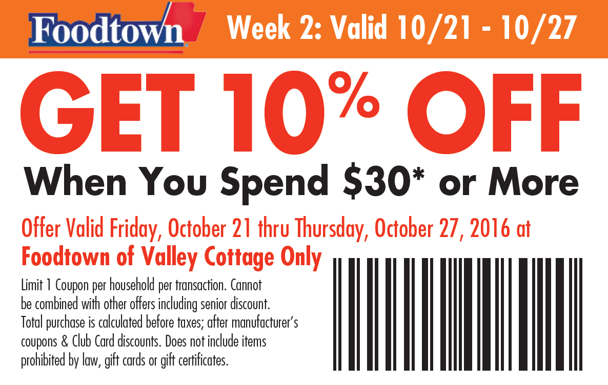 Valley Cottage Facebook Coupon - Foodtown