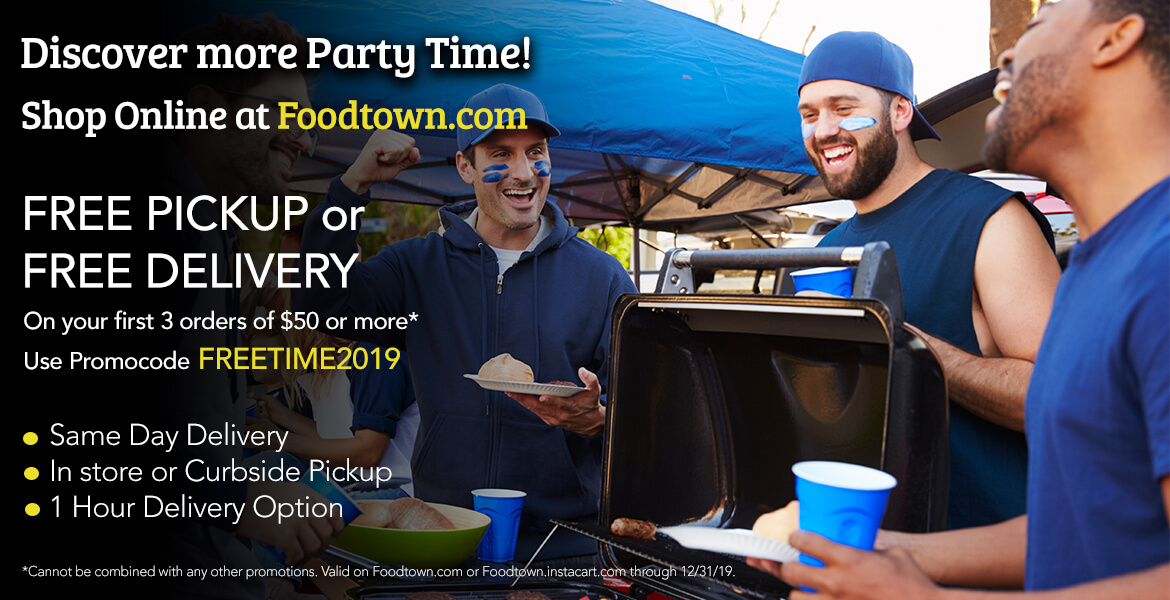 Group of friends tailgating at sports game advertising free pickup or delivery of groceries