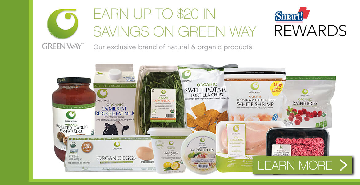 Assorted Green Way food products advertising Green Way rewards club