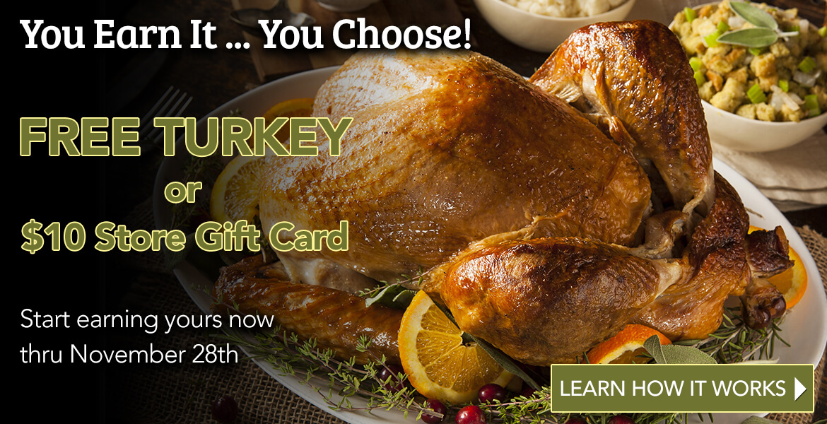 Turkey on plate with side dishes advertising free turkey program