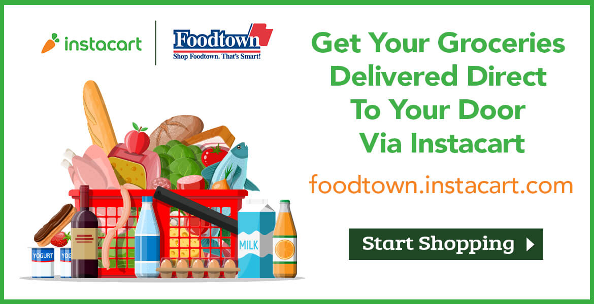 "a basket of groceries with text saying ""get your groceries delivered direct to your door via instacart."