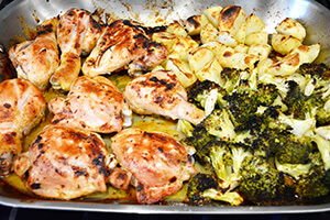 Honey mustard roasted chicken with broccoli on a plate