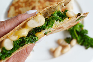 White bean, cheddar and kale quesadillas