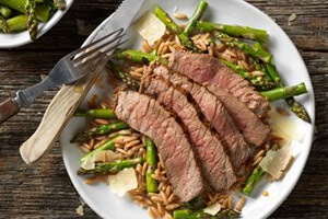 grilled top round steak with parmesan asparagus on a plate