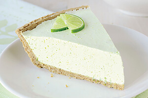 a slice of lime chiffon pie on a plate