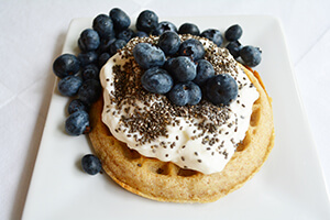 blueberry chia waffles on a plate