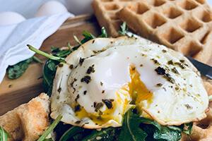 savory waffles with arugula and egg