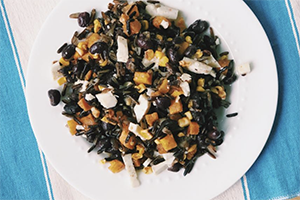 wild rice salad on a plate