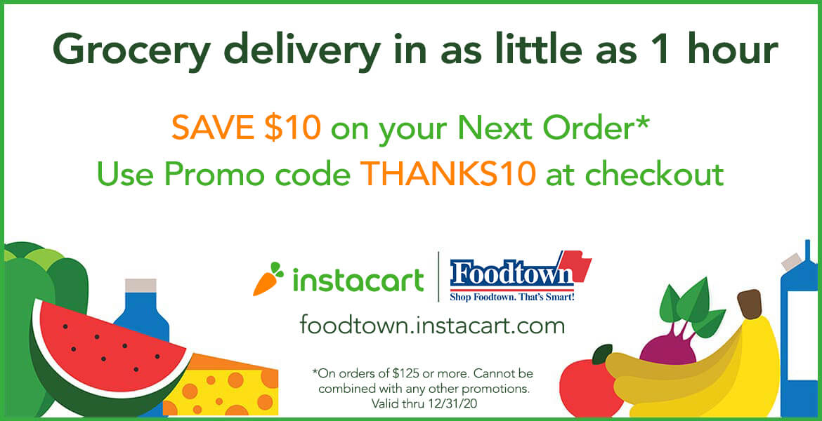 Instacart shopping offer with text saying Save $10 on your next order. Use promocode Thanks10 at checkout.