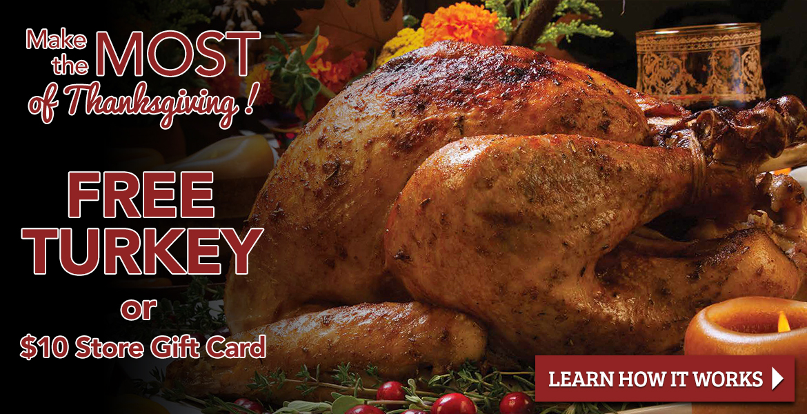 a thanksgiving turkey with text saying free turkey or $10 store gift card. Learn how it works.