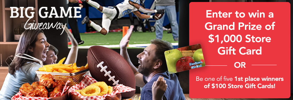 a family gathered around watching football on television with food on the table. The text on the image reads Enter to win a grand prize of $1,000 store gift card or be one of 5 1st place winners of $100 store gift cards.