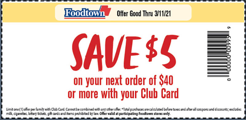 a coupon with text reading save $5 on your next order of $40 or more with your club card. Offer good thru 3/11/21