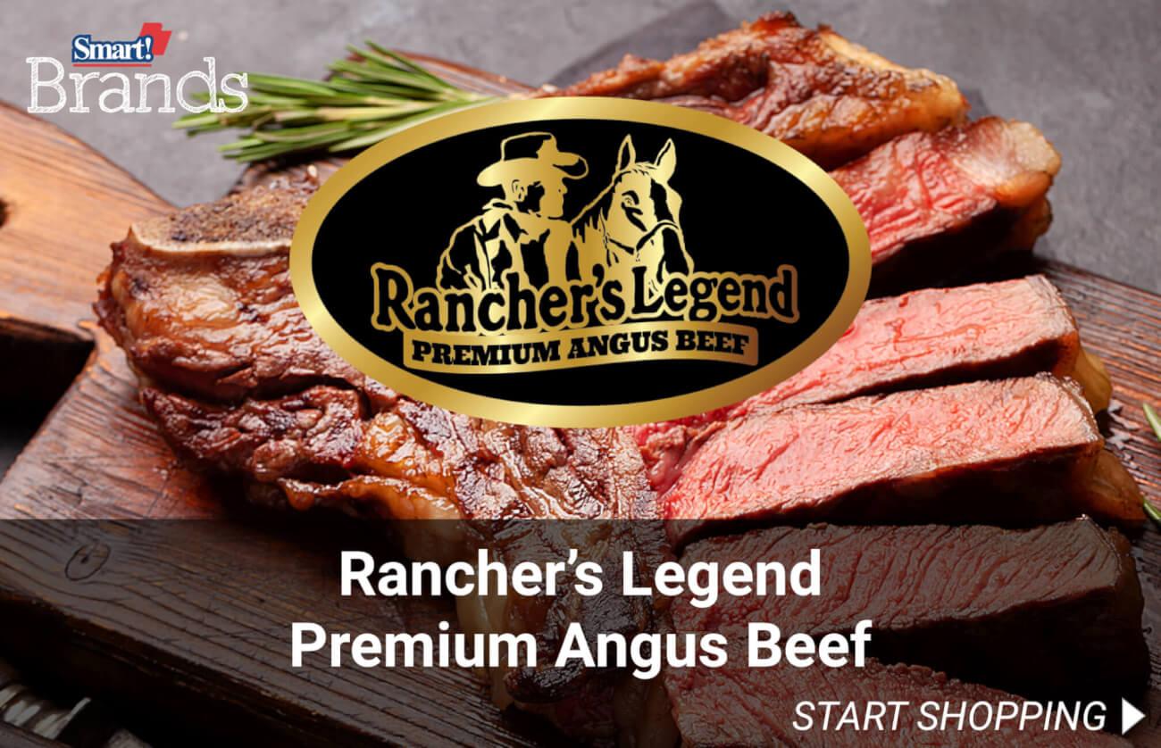 Rancher's Legend premium angus beef.