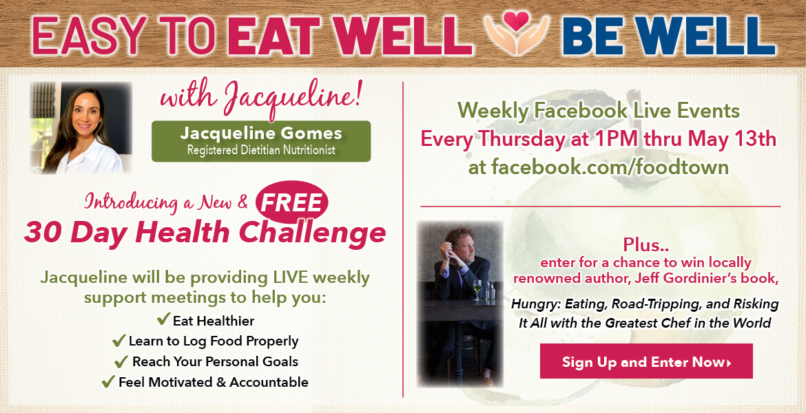 Registered Dietitian Jacqueline Gomes. Text on the image is introducing a new and free 30 day health challenge. Weekly Facebook live events every Thursday at 1pm thru May 13th.  Sign up and enter now.