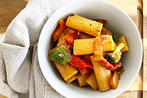 pasta with cooked vegetables in a bowl